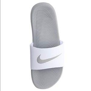 Women's Nike Kawa Slide White and Silver Size 7